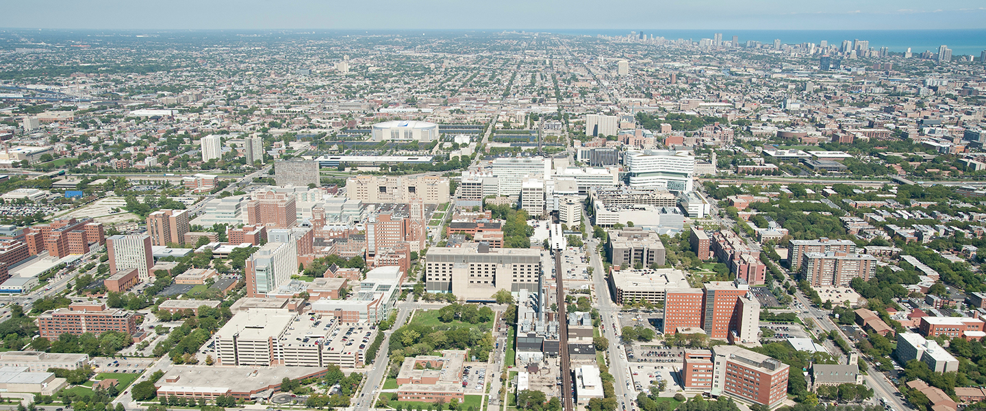 Aerial view of the UIC medical campus.