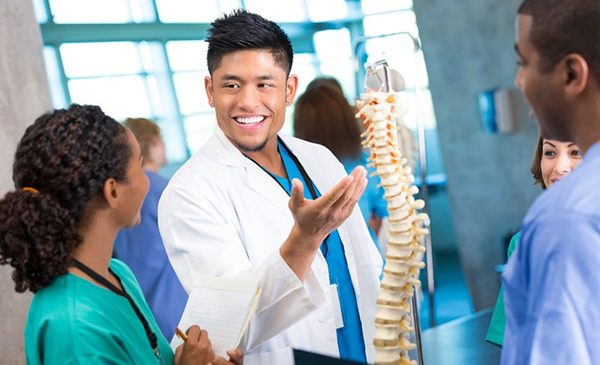 A National University of Health Sciences chiropractic student gestures to a model of a human spine while conversing with another student.