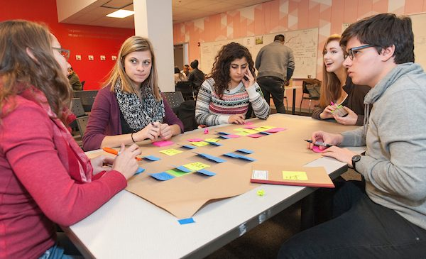 Students working in a group in an Interdisciplinary Medical Product Development Course at the Innovation Center.