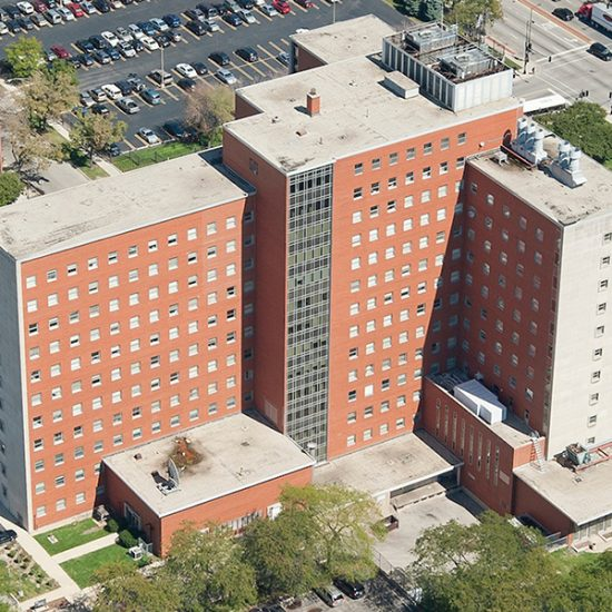 An aerial view of the School of Public Health building on UIC's health sciences campus.