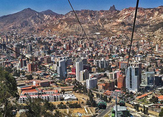 An aerial view of La Paz, Bolivia's capital city.