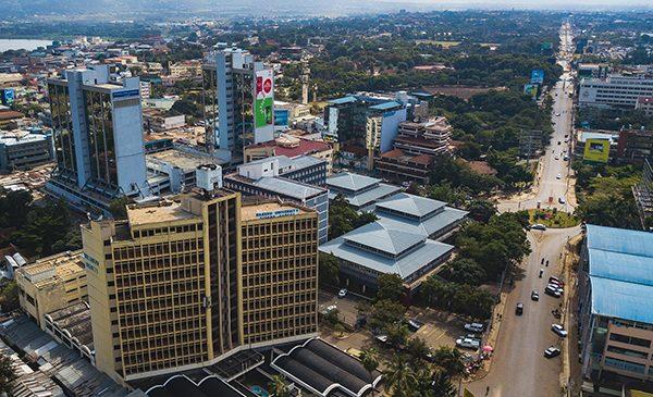 An aerial view of Kisumu city in Kenya.