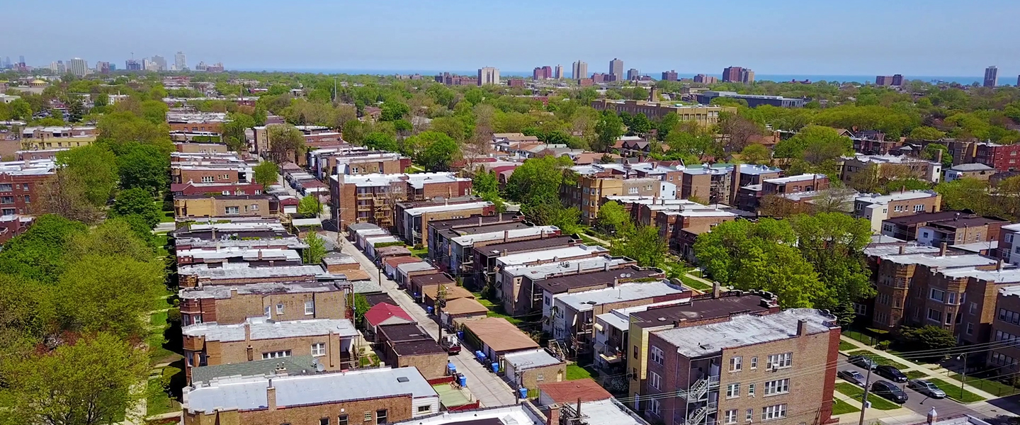 An aerial view of rows of homes and apartments on Chicago's south side.