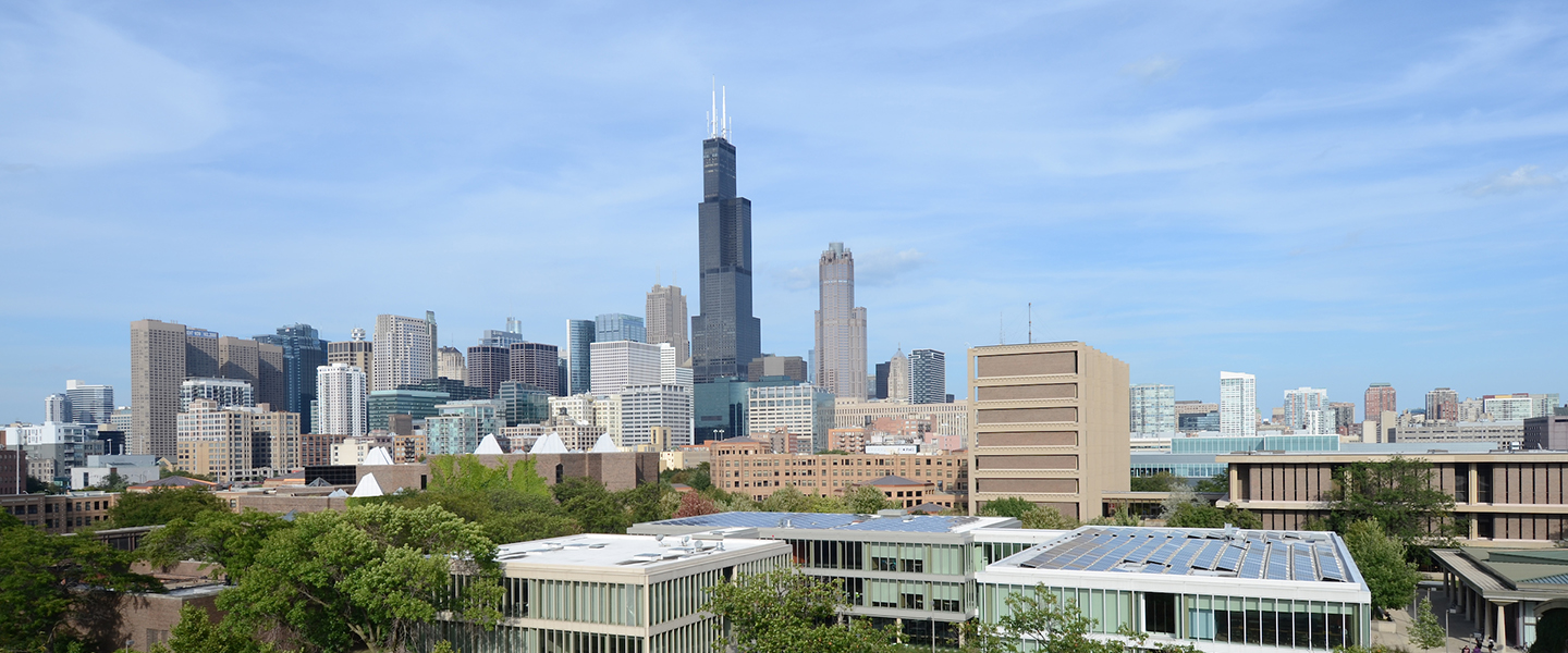 A view of the Chicago skyline, with UIC's Douglas Hall in the foreground.