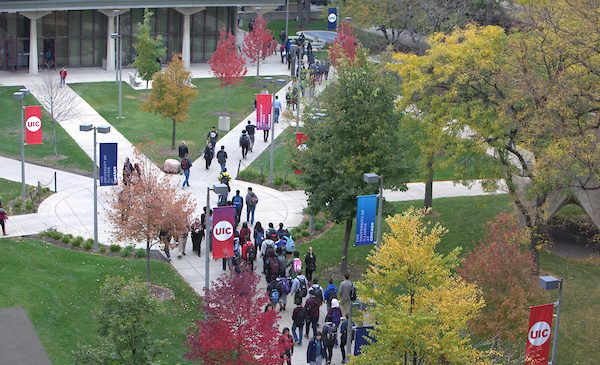 Students walk to class on a fall day at UIC.