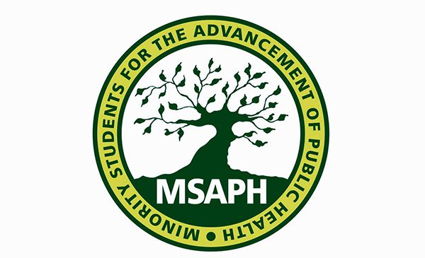The logo for Minority Students for the Advancement of Public Health, featuring the group's name in a circle, with the interior showing a tree growing leaves.