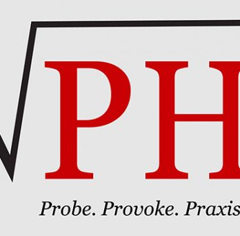 The logo for Radical Public Health, featuring the letters PH in a radical mathematical symbol and the words