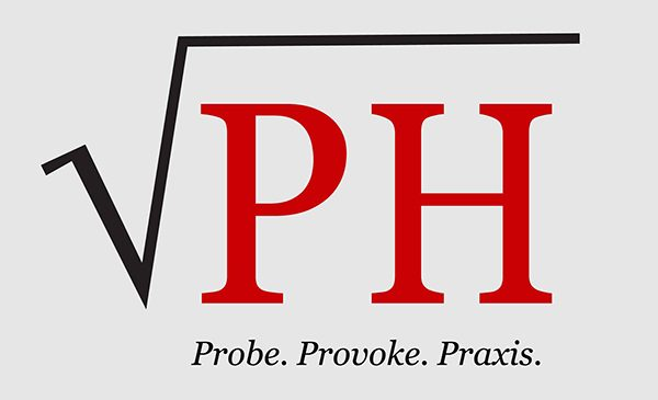 The logo for Radical Public Health, with the letters PH in a square root symbol, and the text beneath the symbol reading:  Probe. Provoke. Praxis