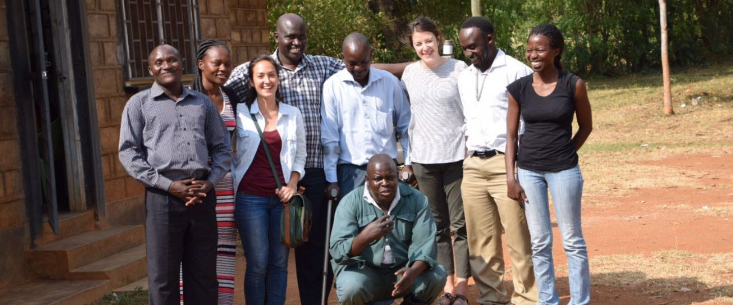 SPH MPH in Epidemiology students pose for a photo with epidemiologists they collaborated with in Kisumu, Kenya, as part of their applied practice experience.