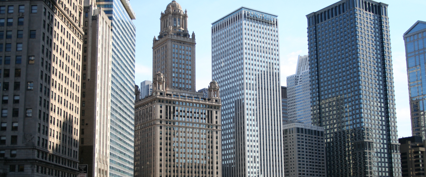 A view of skyscrapers that line the Chicago River.