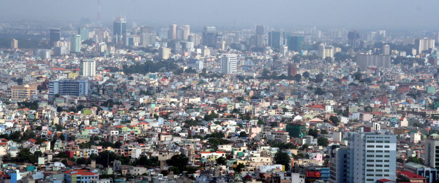 An aerial view of the neighborhoods and skyscrapers of Ho Chi Minh City, also known as Saigon, in Vietnam.
