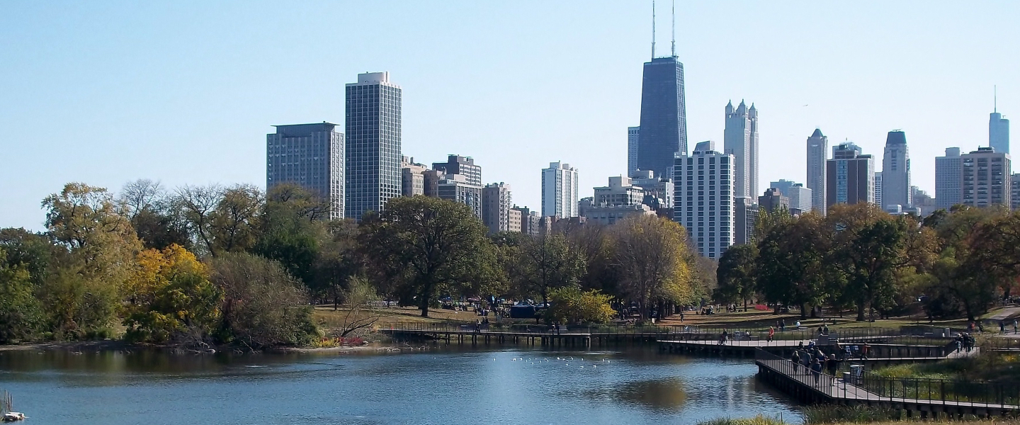A view of the Chicago skyline, with the South Pond at Lincoln Park in the foreground.