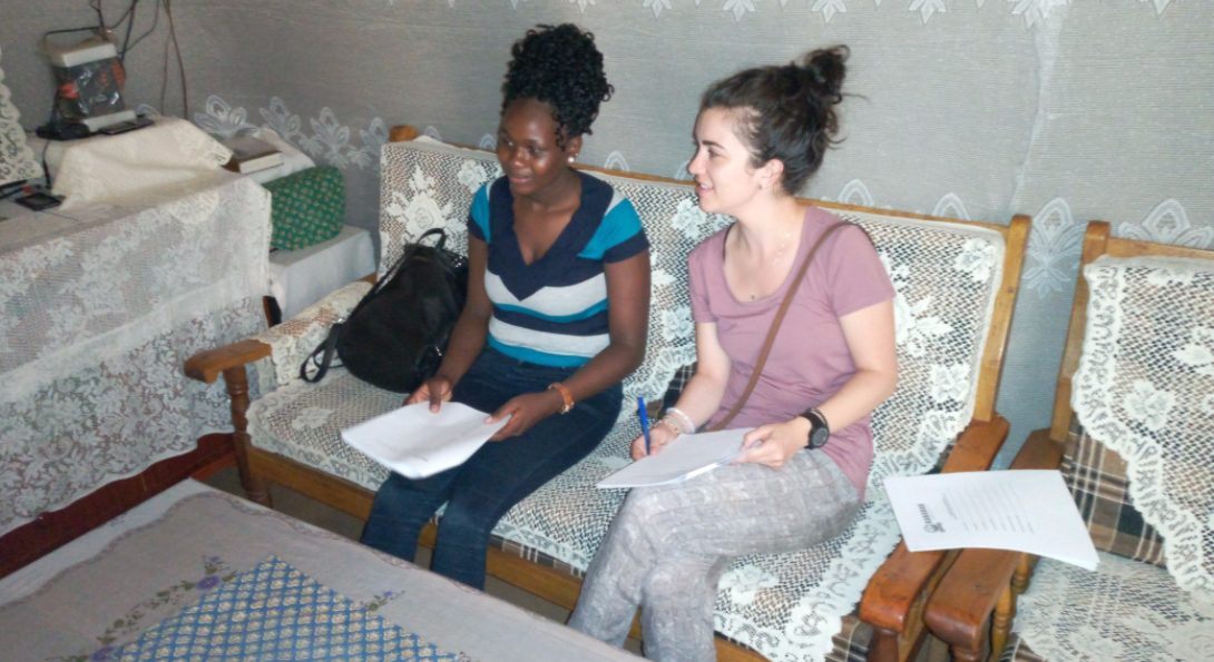 Administering a household survey with Betty's help translating