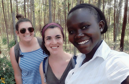Karissa and I working in the field with Mercy, a Maseno University student