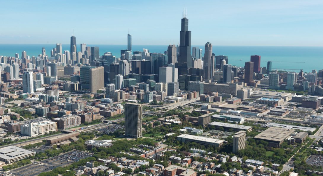 An aerial view of Chicago's skyline, with UIC's east campus in the foreground.