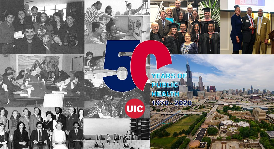 A montage of historical pictures from the School of Public Health, showing old graduating classes and work taking place in Chicago communities.  To the right of the historical images is the School's 50th anniversary logo.