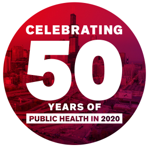 The 50th anniversary logo for the UIC School of Public Health.