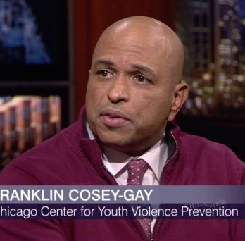 A screenshot of alumnus Franklin Cosey-Gay speaking during the live recording of Chicago Tonight.