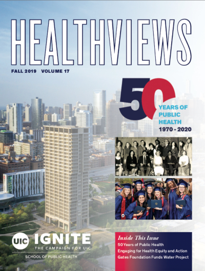 The cover of the Healthviews magazine, showing an aerial view of the UIC campus with the Chicago skyline in the background.