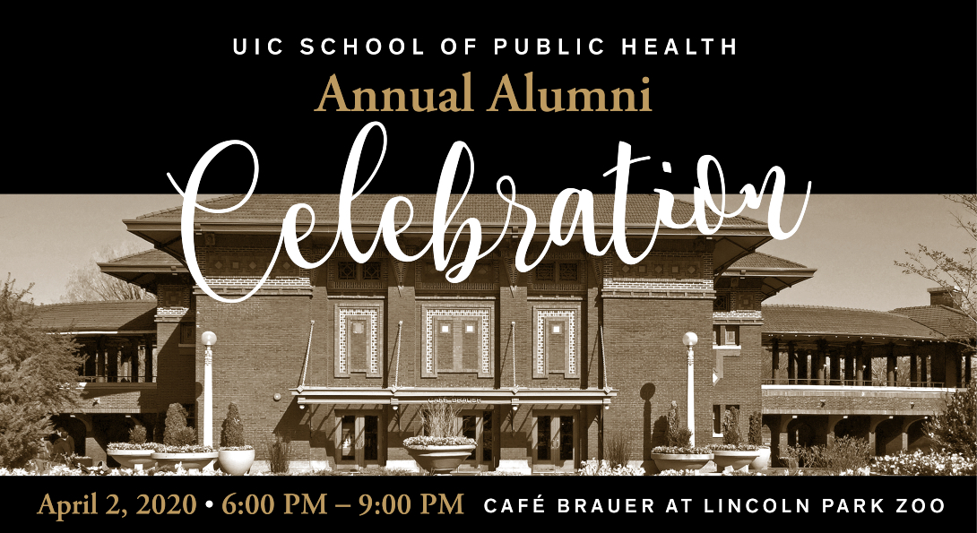 The postcard invitation for the 2020 Annual Alumni Celebration, with an image of Cafe Brauer in Lincoln Park, the site of the event.