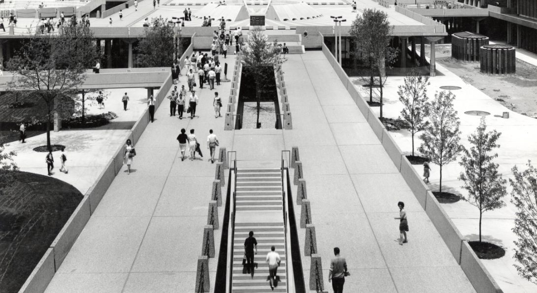 An aerial view of the UIC campus, circa 1965.