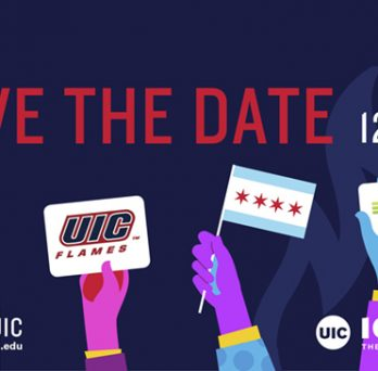 A Giving Tuesday graphic with the UIC logo, UIC Flames logo, UI Health logo and the City of Chicago flag.