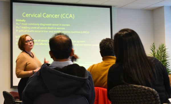 SPH professor Caryn Peterson speaks during a presentation on cervical cancer research at IHRP.