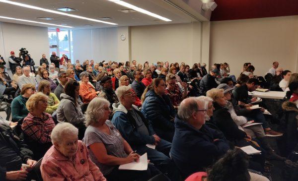 Lake County, Illinois residents listen to Dr. Susan Buchanan's presentation at the Warren Newport Public Library.