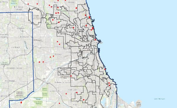 A map showing the location of senior living centers and nursing homes in Chicago.