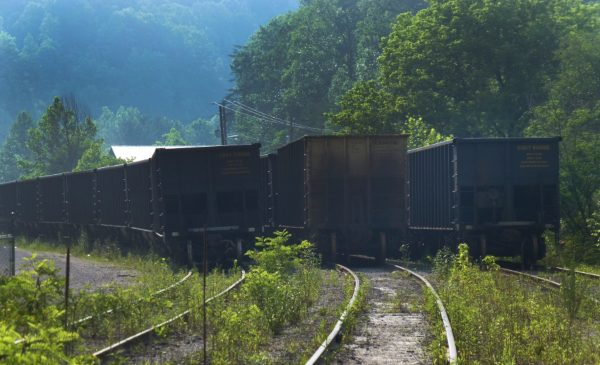A series of empty coal cars are parked in a train yard.