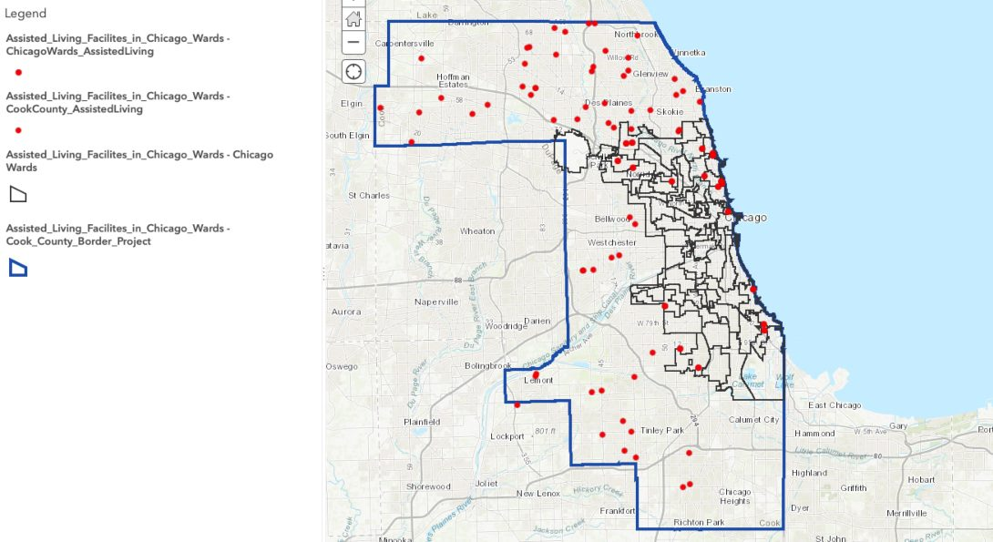 Map of assisted living facilities in Chicago.  An accessible version of the map is posted at the link after the text.