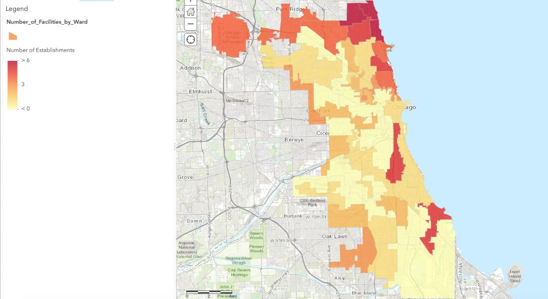 Map showing the volume of assisted living facilities and nursing homes in Chicago.  An accessible version is available at the link to the map in the link block below the text.
