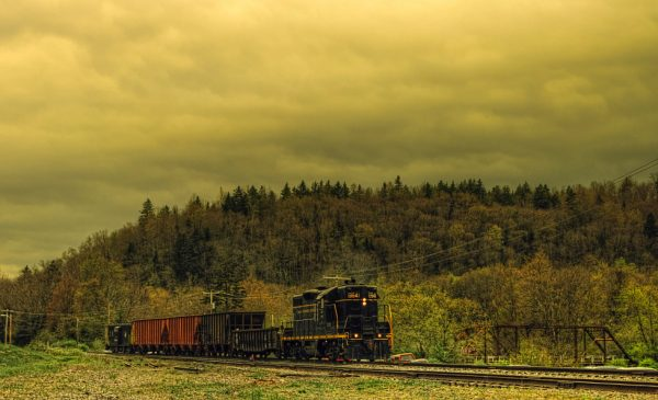 A coal train passes through a mining area in the Appalachian Mountains in West Virginia.