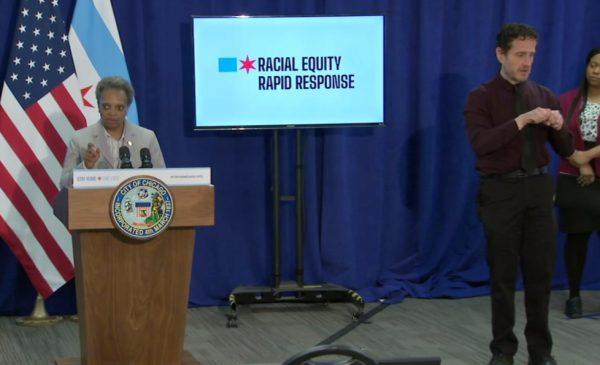 Mayor Lori Lightfoot addresses issues of racial equity at a COVID-19 press conference.