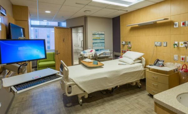 A hospital room at the University of Illinois Hospital at Chicago.