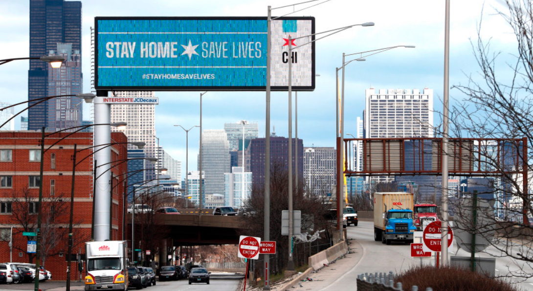 A billboard states