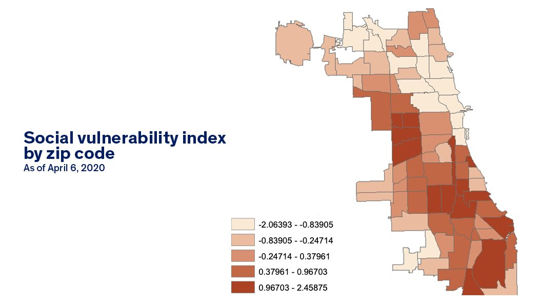 Map showing social vulnerability index scores by zip code in Chicago.