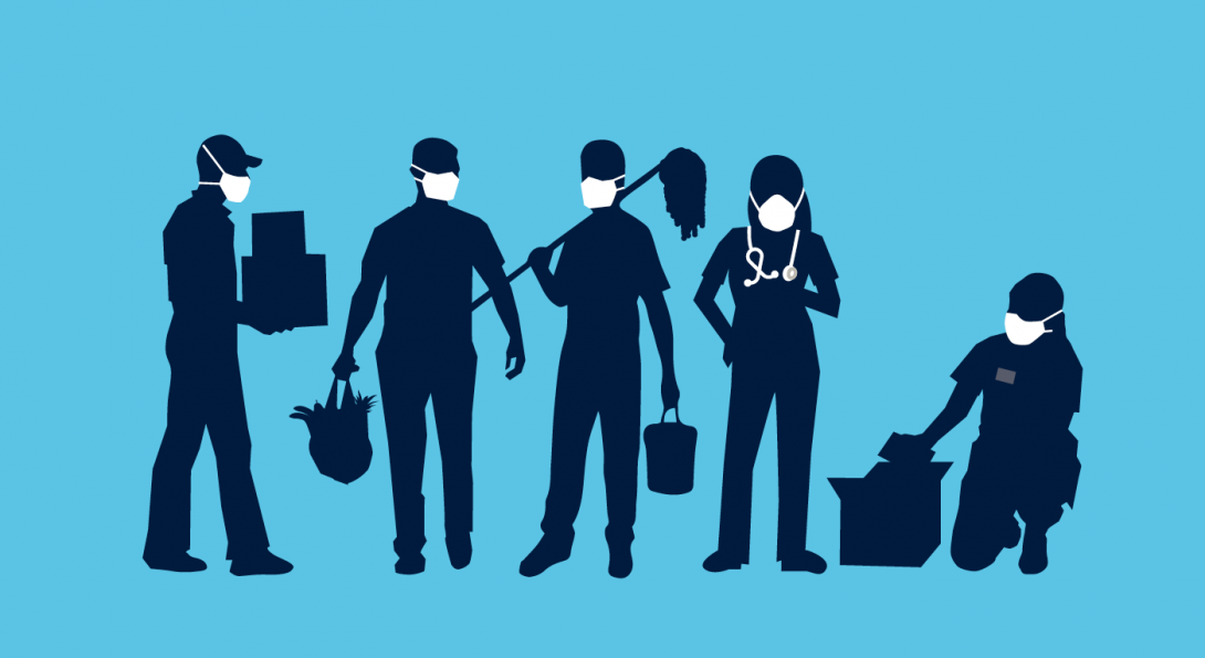 Illustration of a variety of workers engaged in work, all wearing face masks.