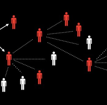 A graphic showing the science of contact tracing, with one infected person infecting multiple others, and so on down a chain of people.