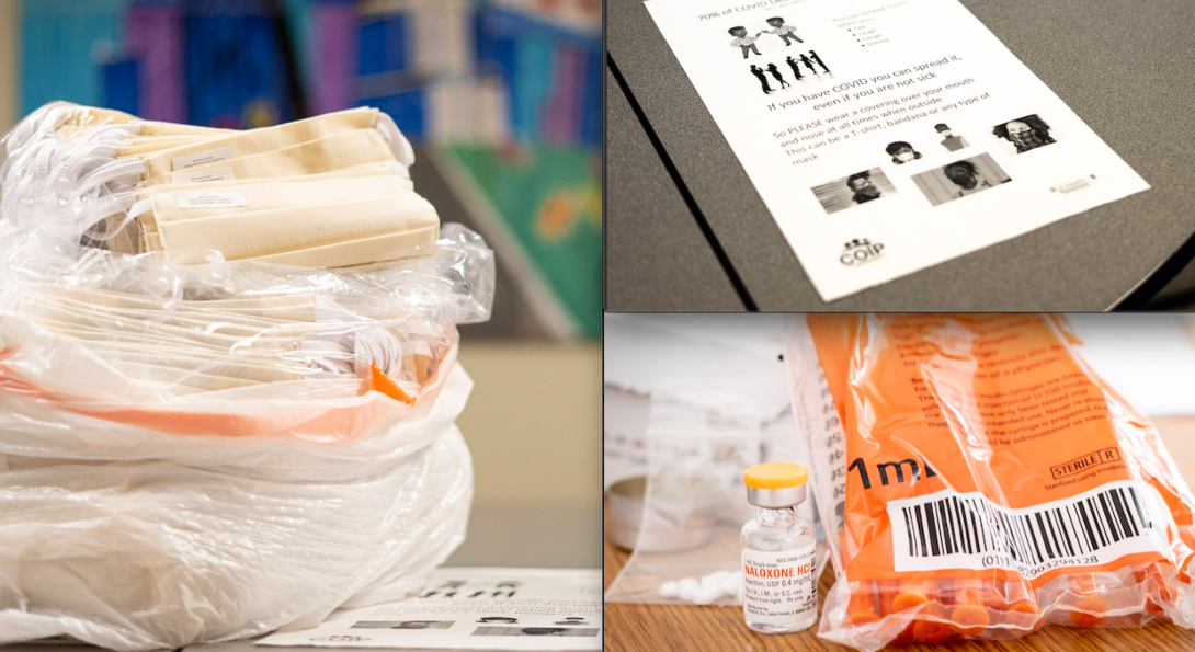 A bag of masks, a bottle of Naxolone, a bag of clean needles and an informational flyer, all part of supplies distributed to people who use drugs during the COVID-19 pandemic by SPH's Community Outreach Intervention Projects.