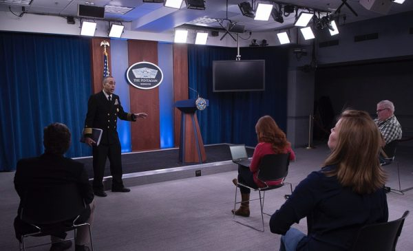 A U.S. Army Corps of Engineers press briefing at the Pentagon.