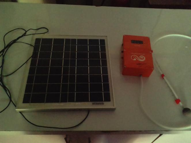 Solar panel, Ozone generator and Aerator. Device was made by students at the University of Illinois at Urbana-Champaign.