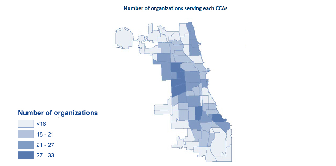 A map showing the number of organizations serving each community area in Chicago.