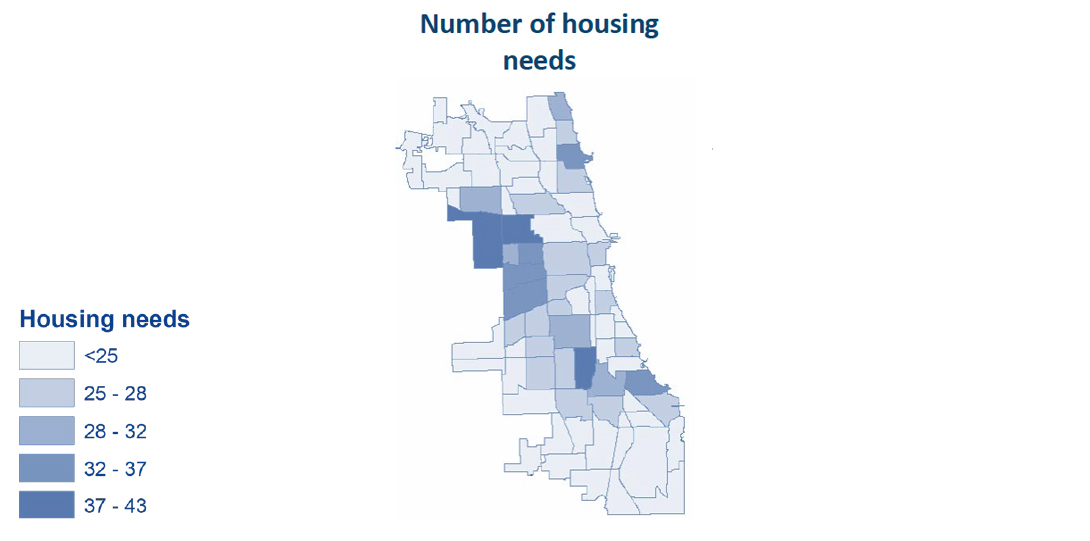 A map showing the volume of housing needs by community area in Chicago.