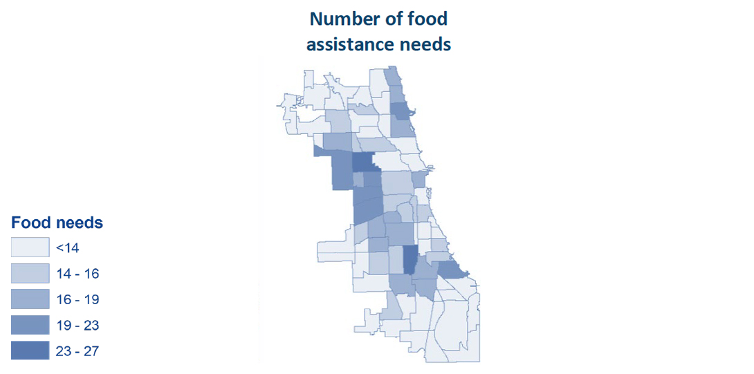 A map showing the number of food assistance needs in each Chicago community area.