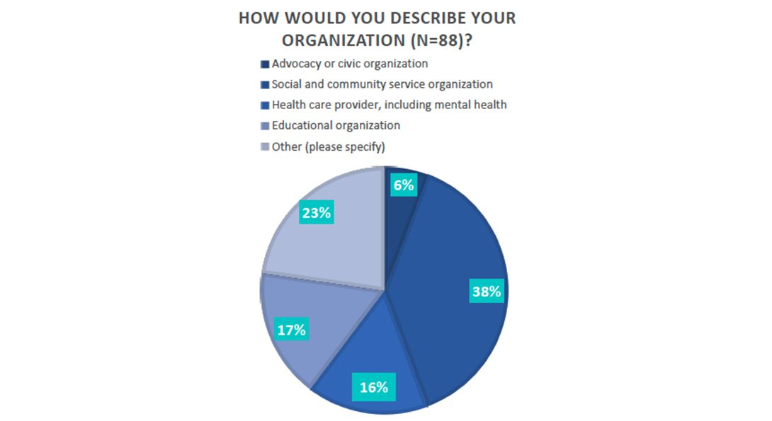 A pie chart showing the types of organizations that responded to the survey.  An accessible version of the chart is linked below the text box.