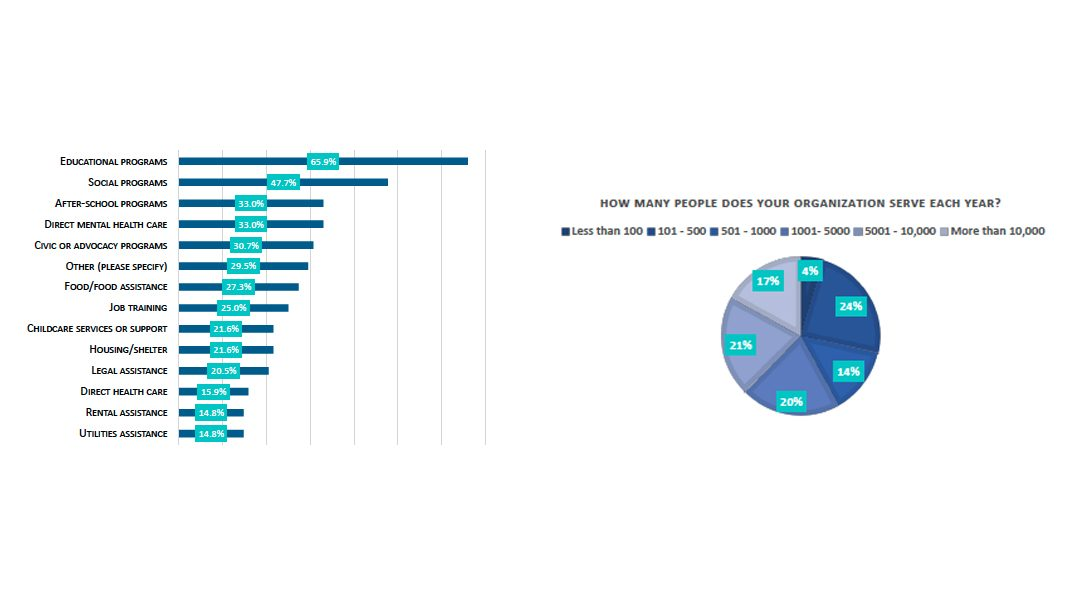 Two charts showing the types of services provided and the number of people served by community organizations.  An accessible version of both charts is linked below this text box.