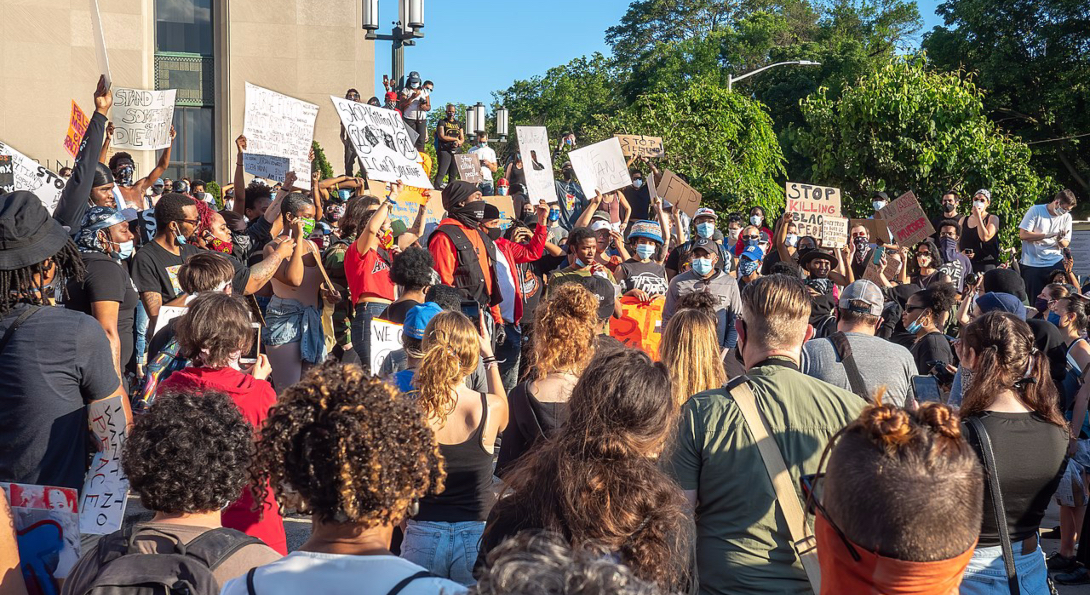 A large group protest of George Floyd's murder in Grand Rapids, Michigan.