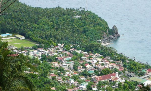 An aerial view of the barangay of Poblacion on the island of Banton, within the province of Romblon.