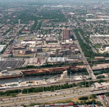 An aerial view of the Cook County Jail.